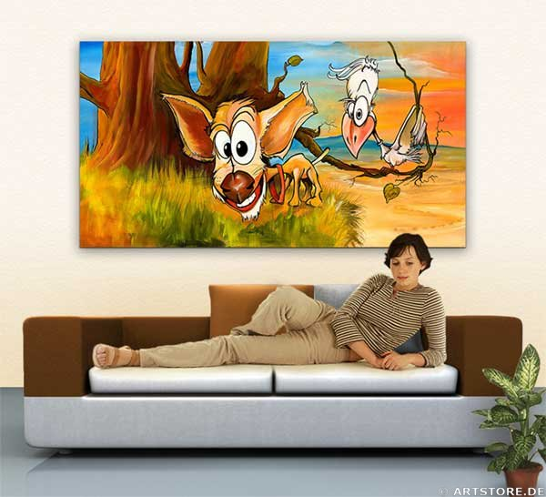 Wandbild Mia Morro BINGO & BIRDY Wohnbeispiel