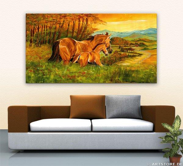 Wandbild Mia Morro HORSE FAMILY Wohnbeispiel