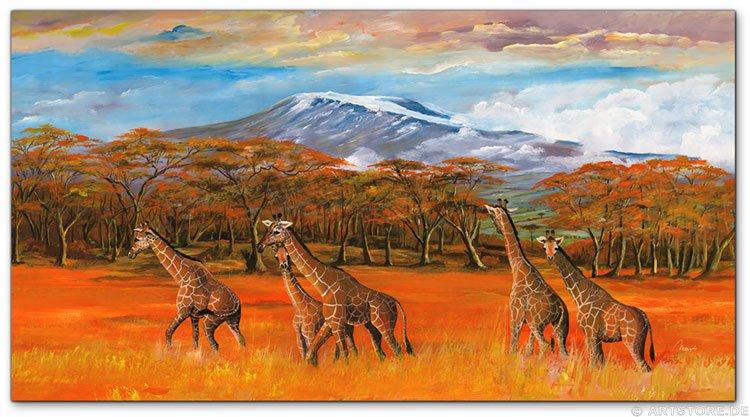 Wandbild Mia Morro GIRAFFEN IN AFRIKA
