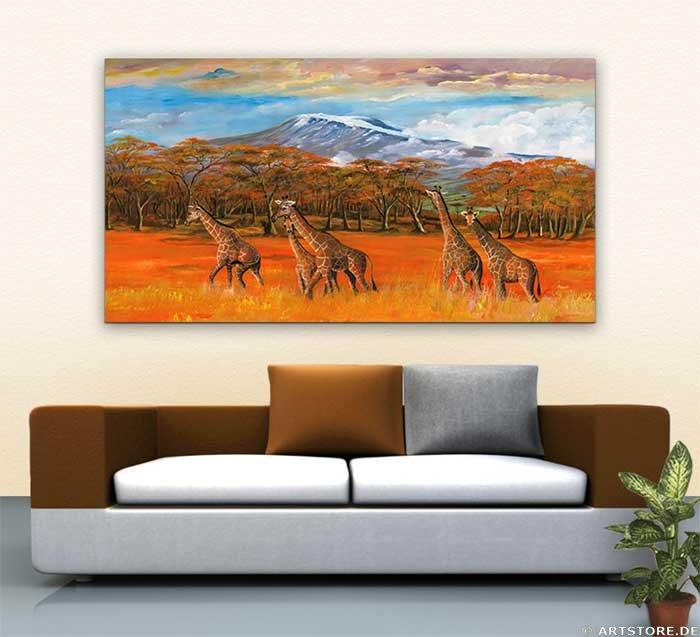 Wandbild Mia Morro GIRAFFEN IN AFRIKA Wohnbeispiel