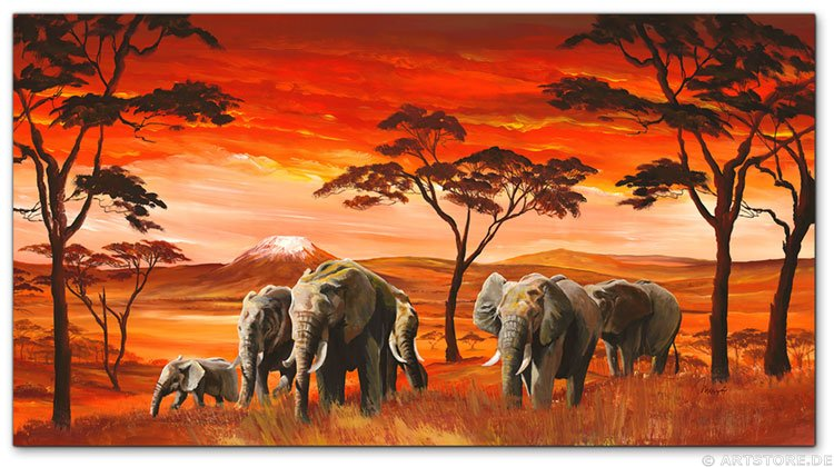 Wandbild Mia Morro AFRICAN ELEPHANTS on RED
