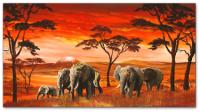Wandbilder Mia Morro AFRICAN ELEPHANTS on RED