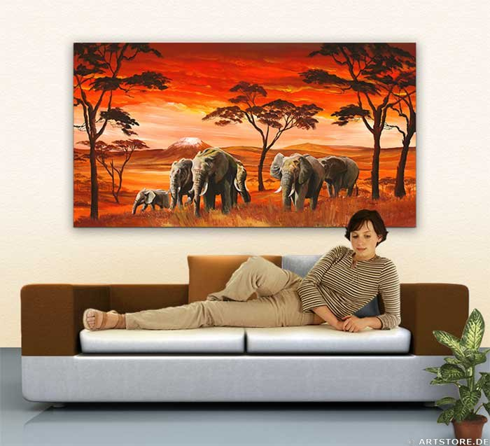 Wandbild Mia Morro AFRICAN ELEPHANTS on RED Wohnbeispiel
