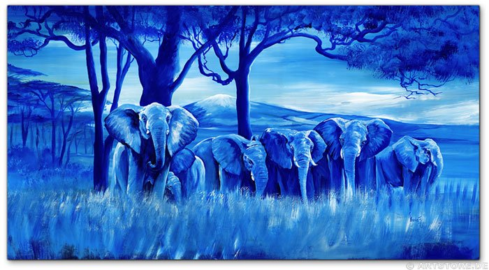 Wandbild Mia Morro BLUE ELEPHANTS
