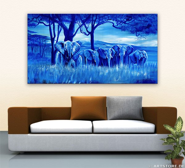 Wandbild Mia Morro BLUE ELEPHANTS Wohnbeispiel