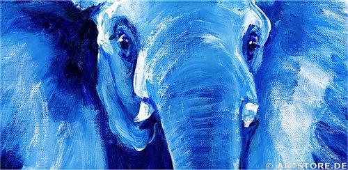 Wandbild Mia Morro BLUE ELEPHANTS Detailausschnitt