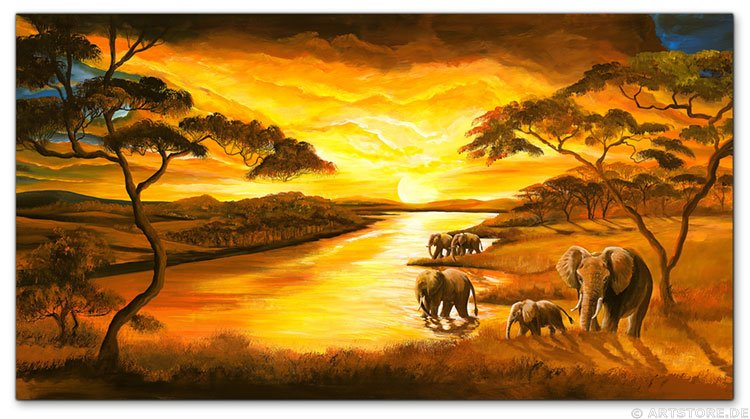 Wandbild Mia Morro SUNSET AFRIKA - ELEPHANTS