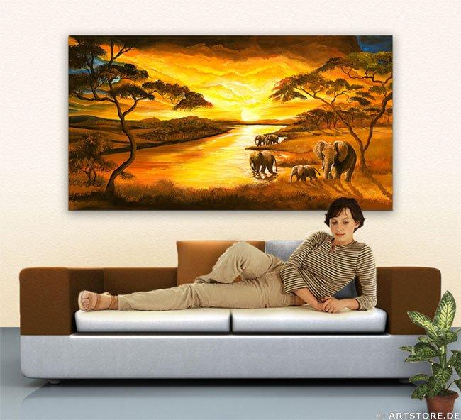 Wandbild Mia Morro SUNSET AFRIKA - ELEPHANTS Wohnbeispiel