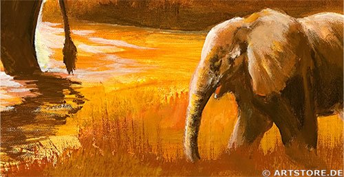 Wandbild Mia Morro SUNSET AFRIKA - ELEPHANTS Detailausschnitt