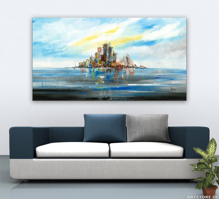 Wandbild Mia Morro NEW YORK SKYLINE - ABSTRAKT Wohnbeispiel