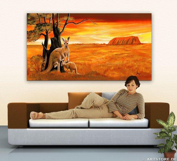 Wandbild Mia Morro KANGAROOS - AUSTRALIA Wohnbeispiel