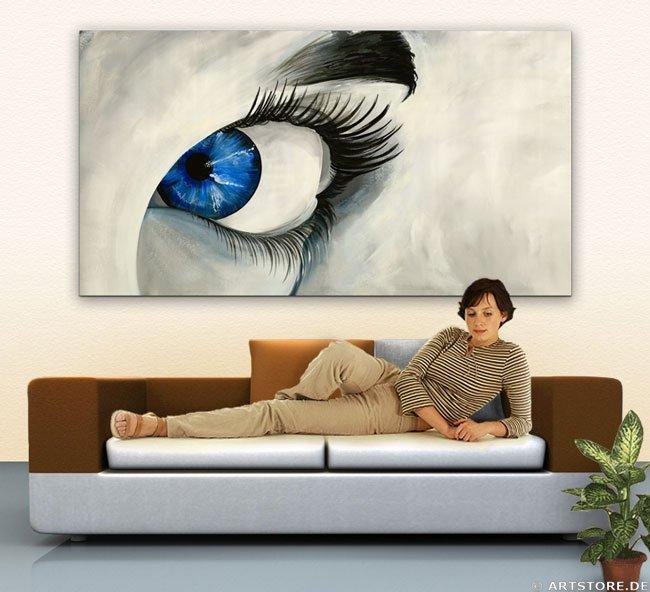 Wandbild Mia Morro BLUE EYE Wohnbeispiel