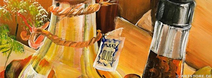 Wandbild Mia Morro STILLEBEN - Öl, Essig, Wein Detailausschnitt