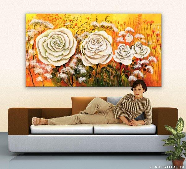 Wandbild Mia Morro WEISSE ROSEN Wohnbeispiel