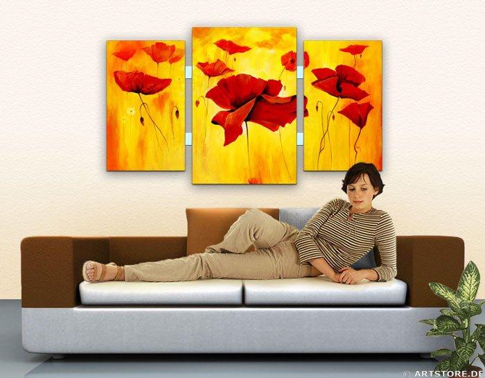 Wandbild Mia Morro WILDER MOHN Wohnbeispiel