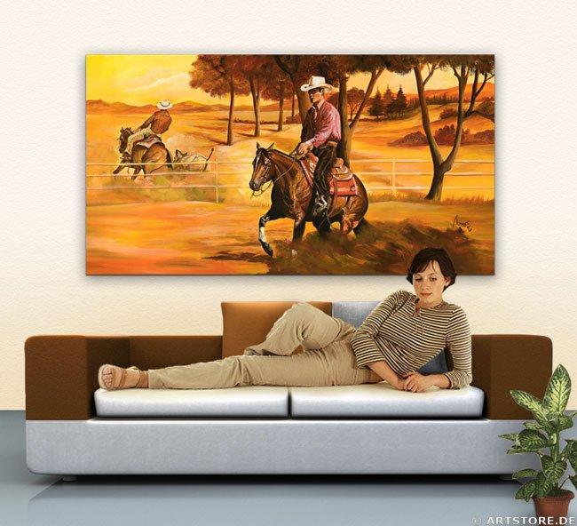 Wandbild Mia Morro WESTERN REINING CUTTING Wohnbeispiel
