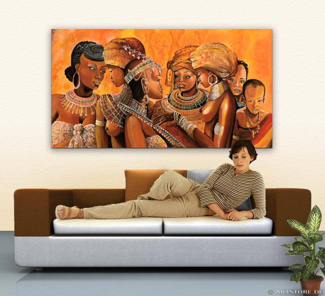 Wandbild Mia Morro AFRIKA HOCHZEIT Wohnbeispiel