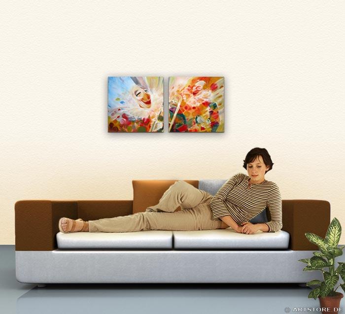 Wandbild Mia Morro ZIRKUS CLOWNS Wohnbeispiel