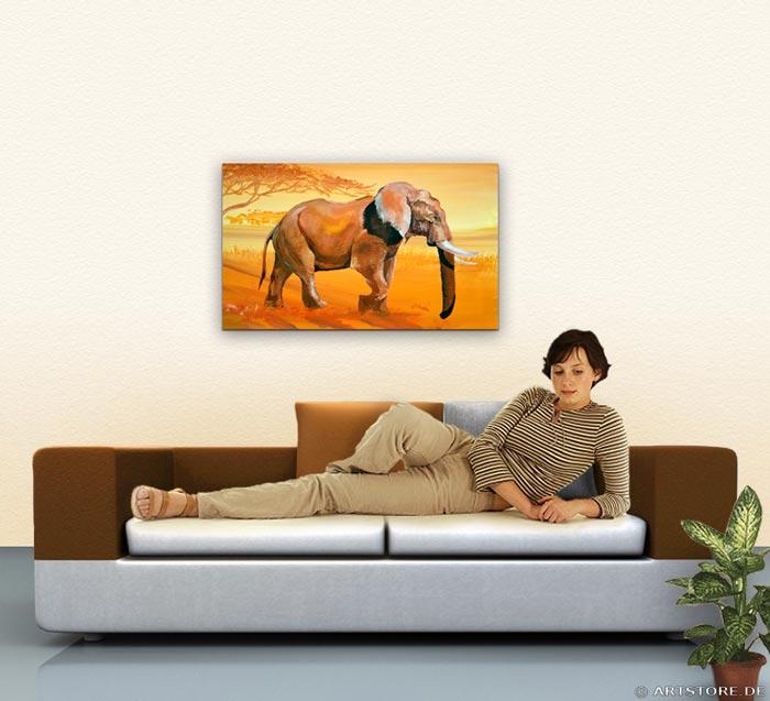 Wandbild Mia Morro ELEFANT - AFRIKA BILDER EDITION Wohnbeispiel