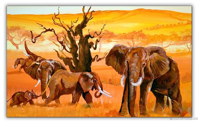 Wandbild Mia Morro ELEFANTEN - AFRIKA BILDER EDITION