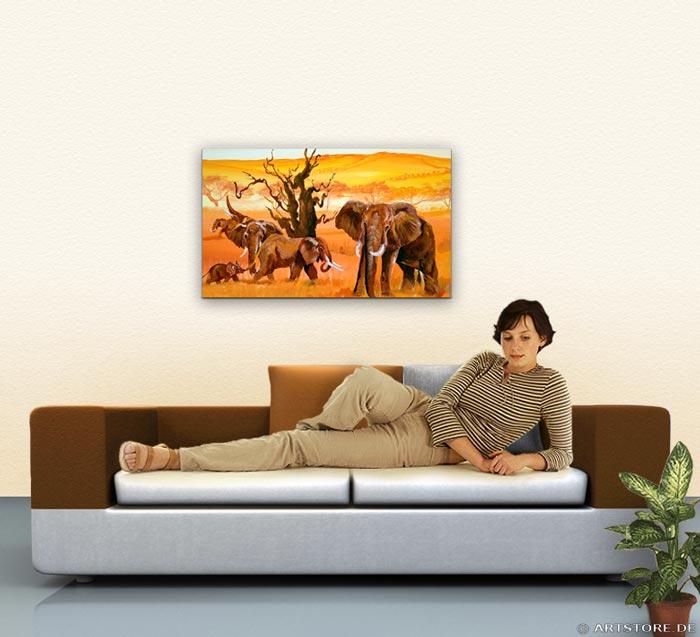 Wandbild Mia Morro ELEFANTEN - AFRIKA BILDER EDITION Wohnbeispiel