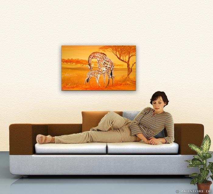 Wandbild Mia Morro GIRAFFEN - AFRIKA BILDER EDITION Wohnbeispiel