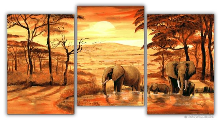wandbilder mia morro elefanten am wasser kunstdrucke leinwand keilrahmen. Black Bedroom Furniture Sets. Home Design Ideas