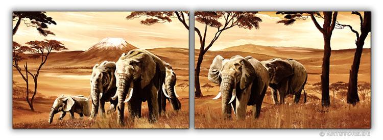 Wandbild Mia Morro ELEFANTEN - AFRIKA EDITION