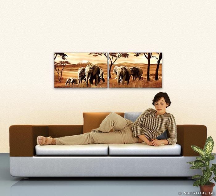 Wandbild Mia Morro ELEFANTEN - AFRIKA EDITION Wohnbeispiel
