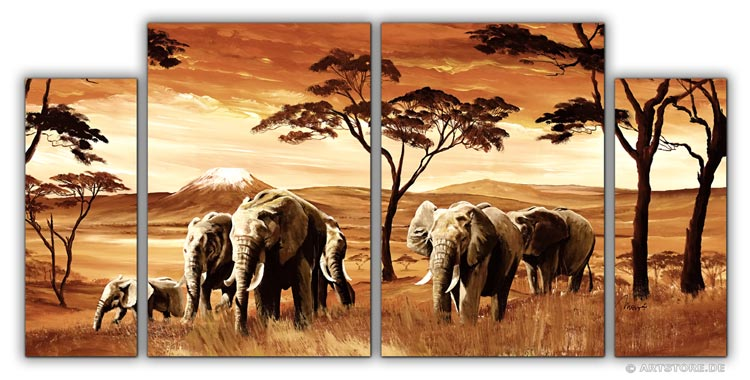 wandbilder mia morro elefanten afrika edition kunstdrucke leinwand keilrahmen. Black Bedroom Furniture Sets. Home Design Ideas