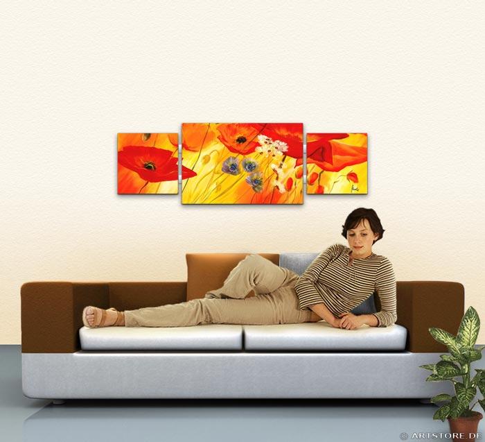 Wandbild Mia Morro MOHN BLUMEN EDITION Wohnbeispiel