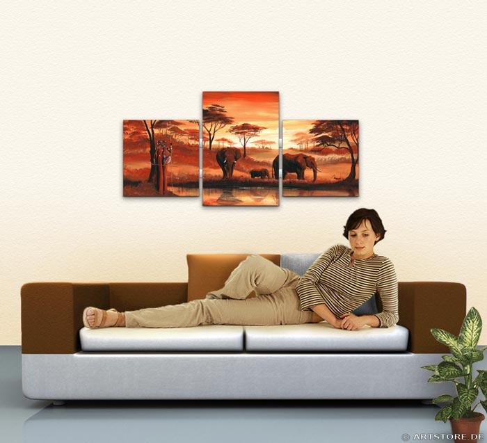 Wandbild Mia Morro AFRIKA ELEFANTEN Wohnbeispiel