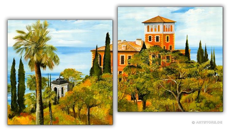 wandbilder mia morro villa mediterran kunstdrucke leinwand keilrahmen. Black Bedroom Furniture Sets. Home Design Ideas