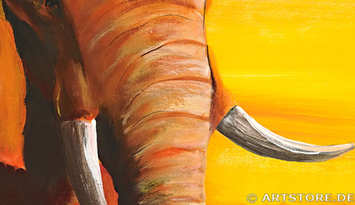 Wandbild Mia Morro ELEFANTEN IM SONNENUNTERGANG Detailausschnitt