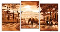 Wandbilder Mia Morro ELEFANTEN AM WASSER BRAUN