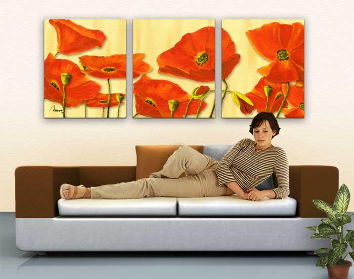 Wandbild Mia Morro BEAUTIFUL POPPYS Wohnbeispiel